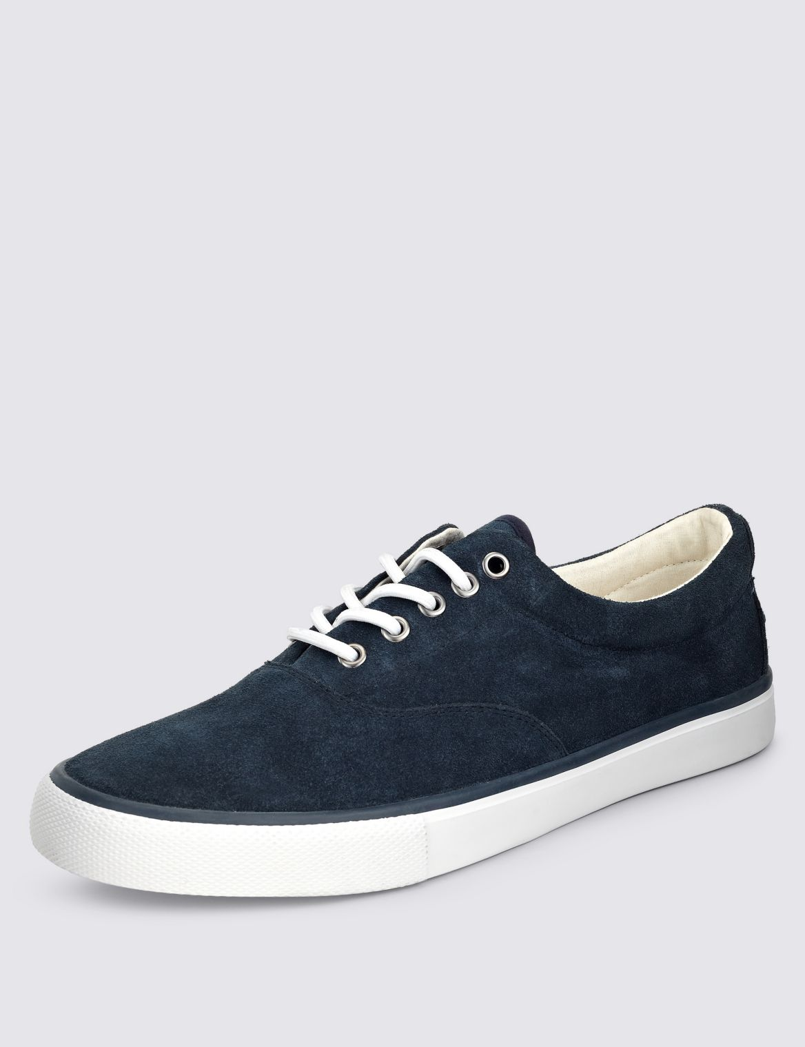Suede Lace-up Oxford Pump Shoes navy