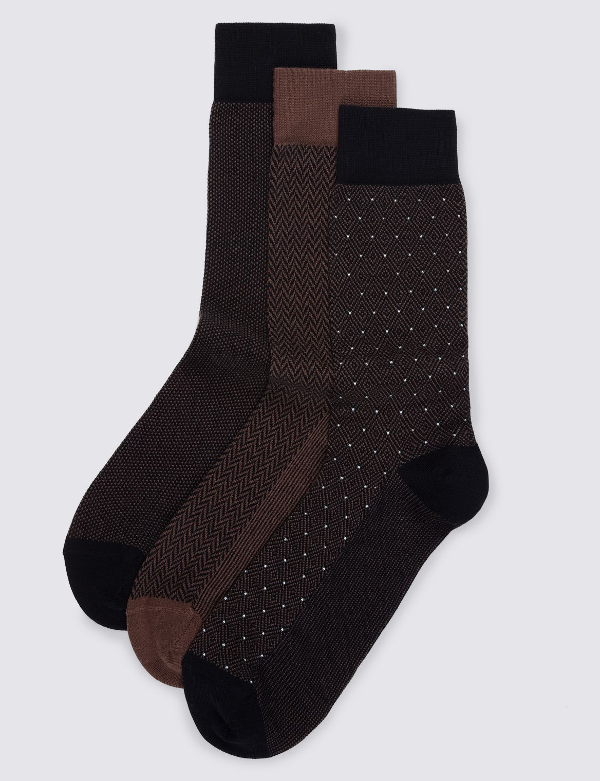 3 Pairs of Luxury Cotton Socks brown mix
