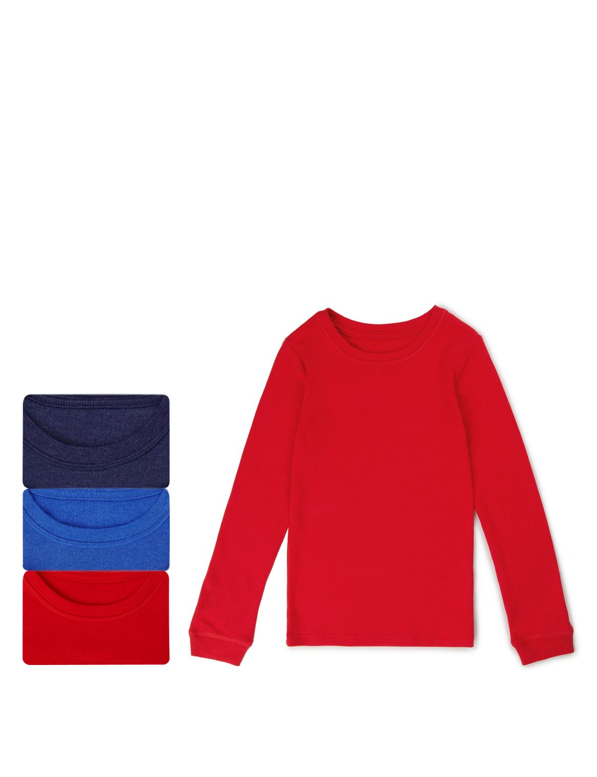 3 Pack Long Sleeve Assorted Vest Tops (2-16 Years) red mix