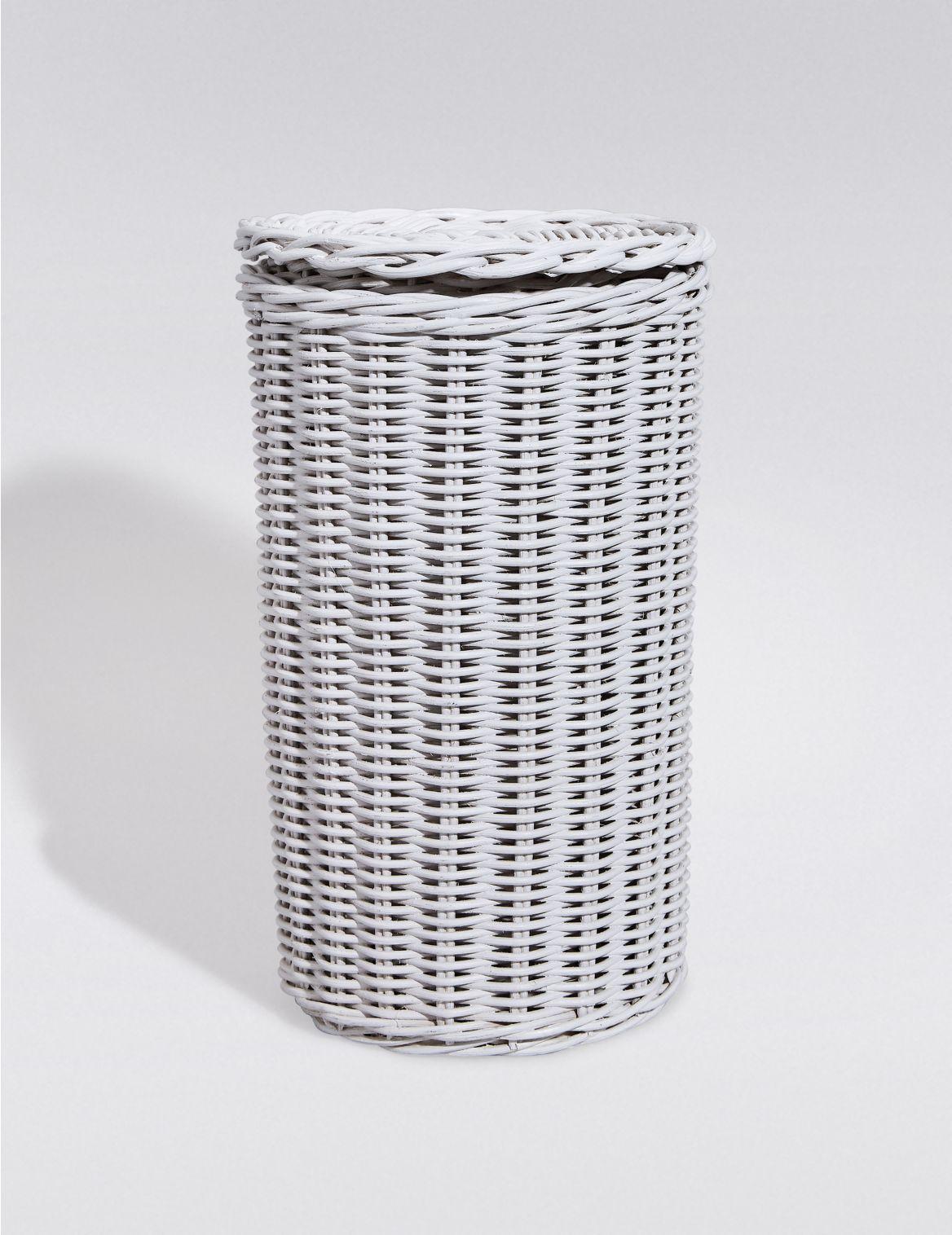 Rangement pour rouleaux de papier-toilette en rotin blanc. DimensionsHauteur:28 cm;Largeur:17 cm
