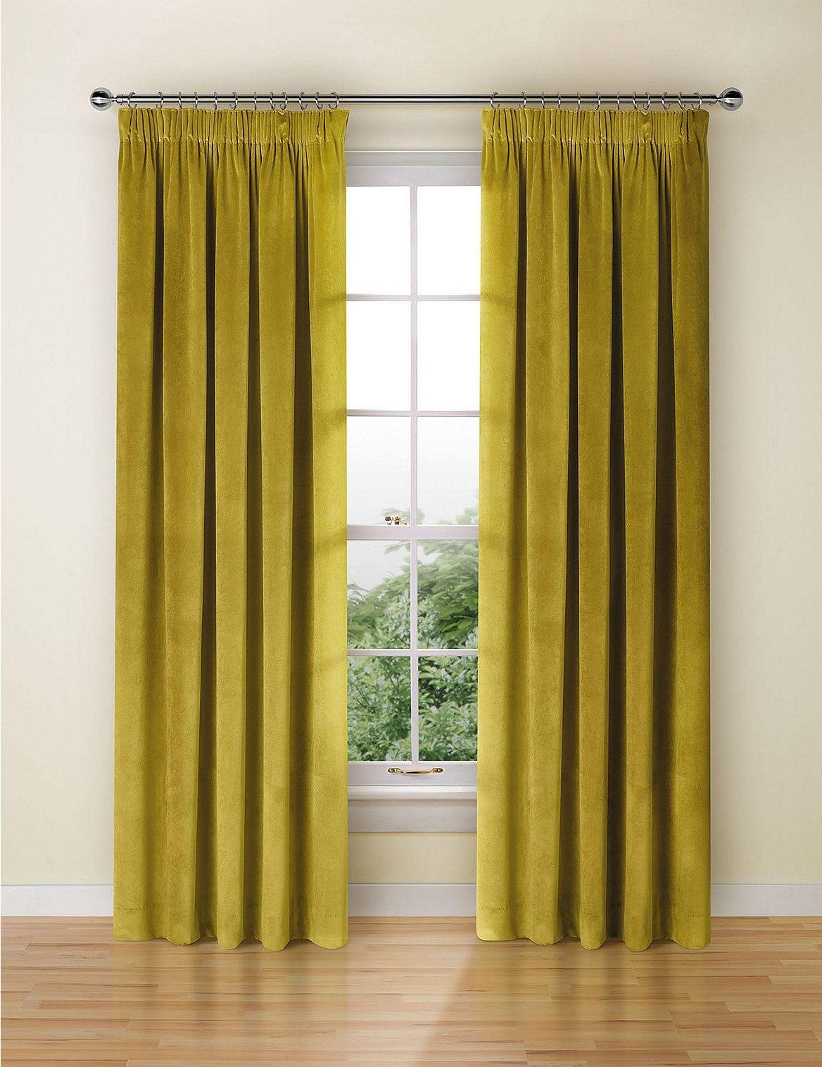 Velvet Pencil Pleat Curtains OCHRE Catlanding
