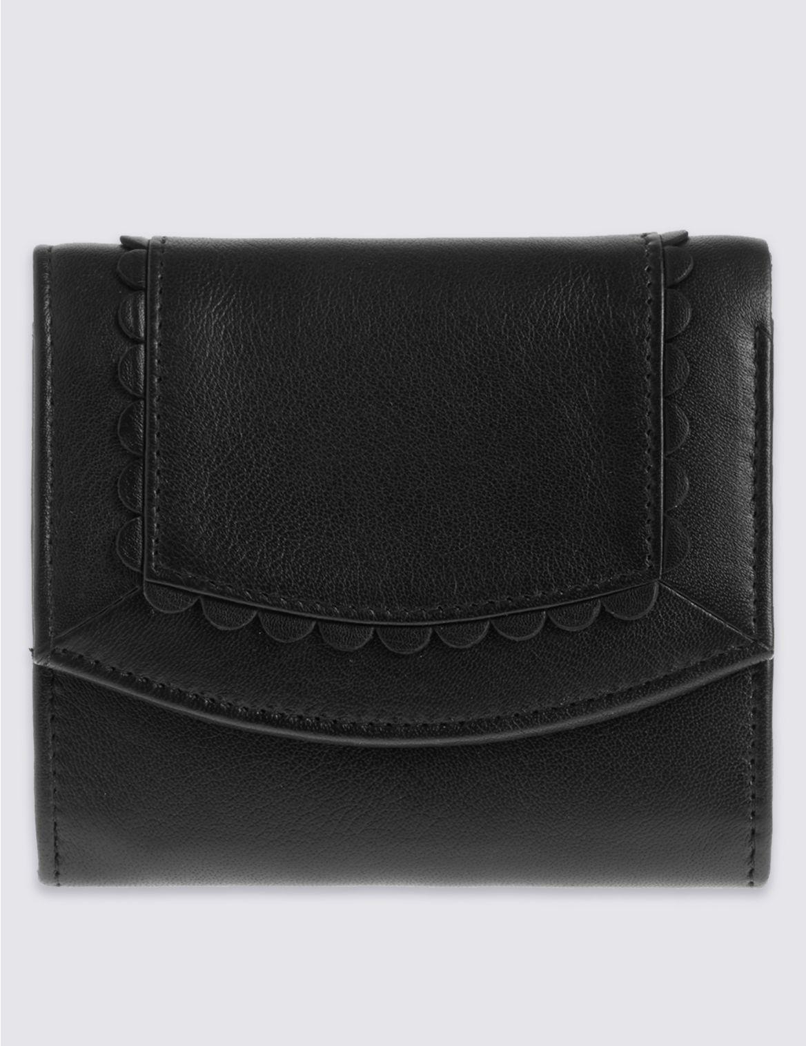 Porte-monnaie en cuir festonné à motif rayon de soleil, doté de la technologie Cardsafe™
