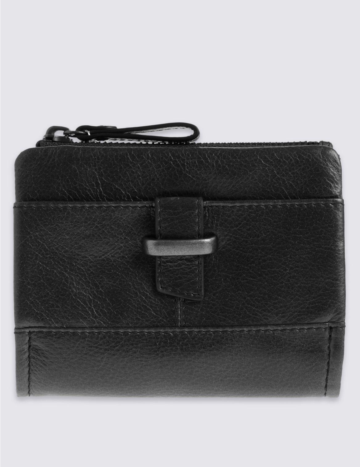 Porte-monnaie en cuir à rabat, doté de la technologie Cardsafe™