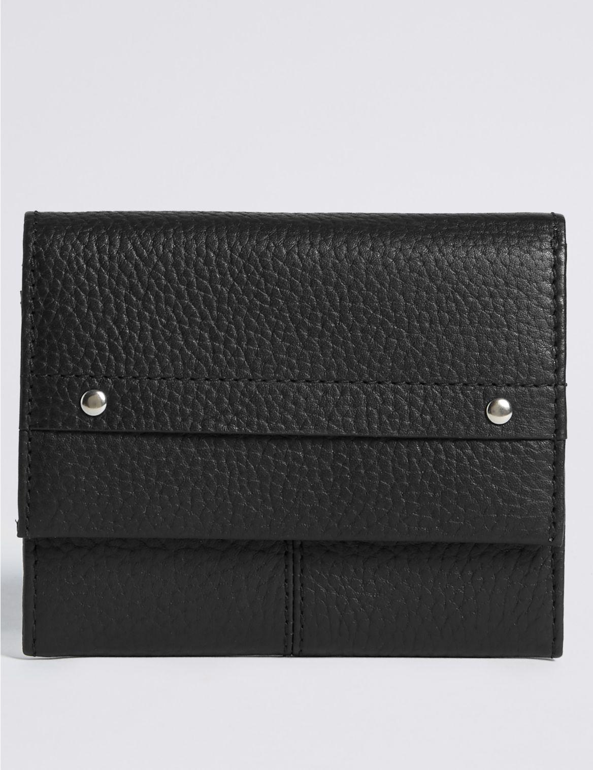 Porte-monnaie en cuir aspect granuleux, doté de la technologie Cardsafe™