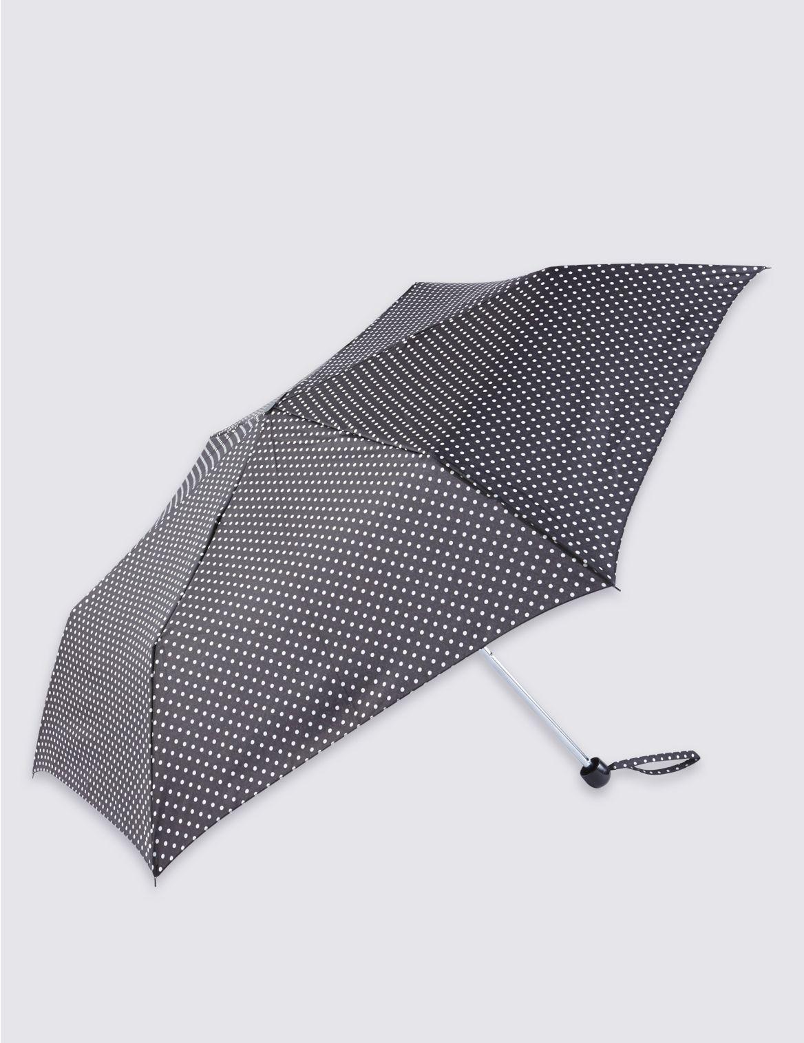 Parapluie compact à petit imprimé pois, doté de la technologie Stormwear™