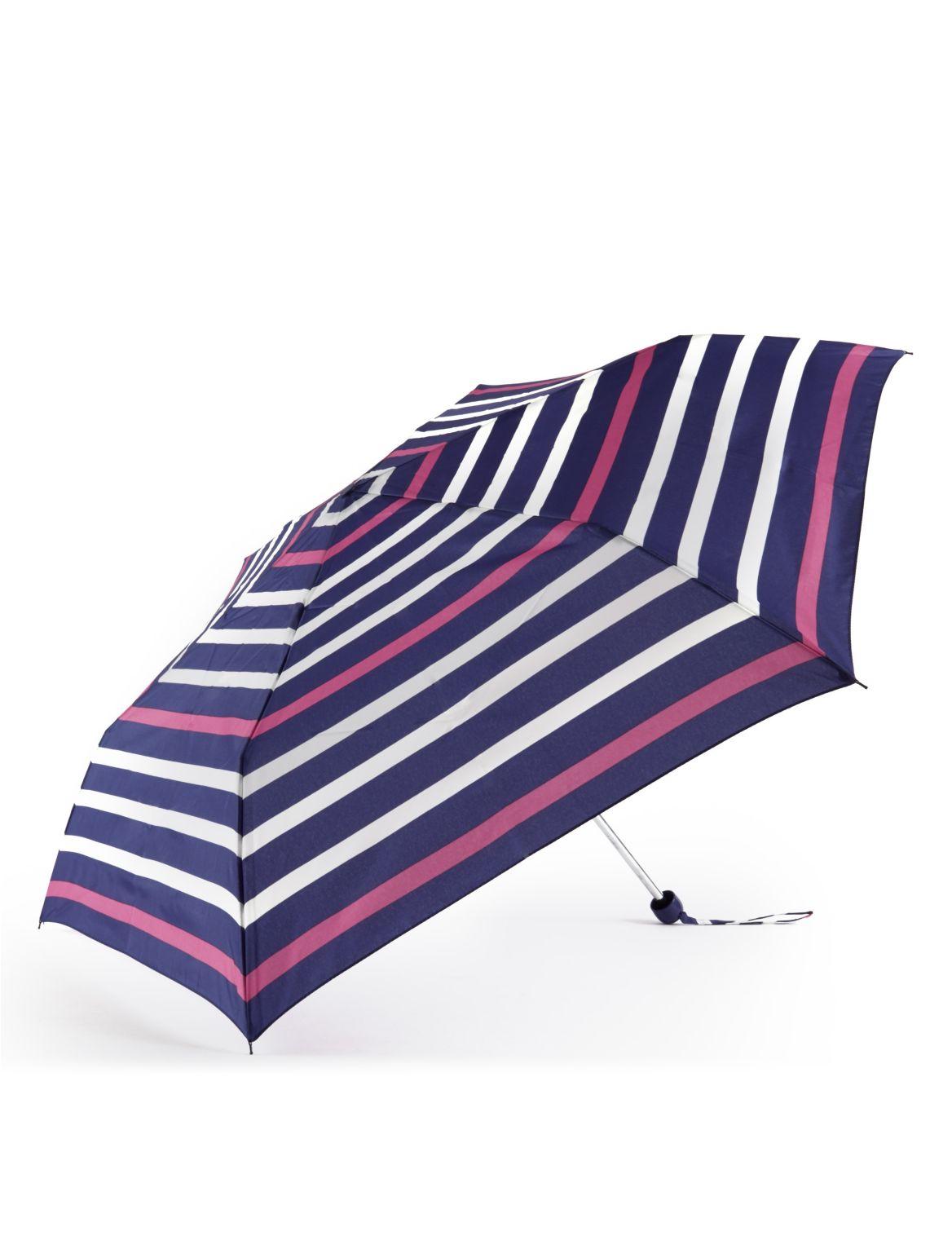 Parapluie compact à rayures marines, doté de la technologie Stormwear™