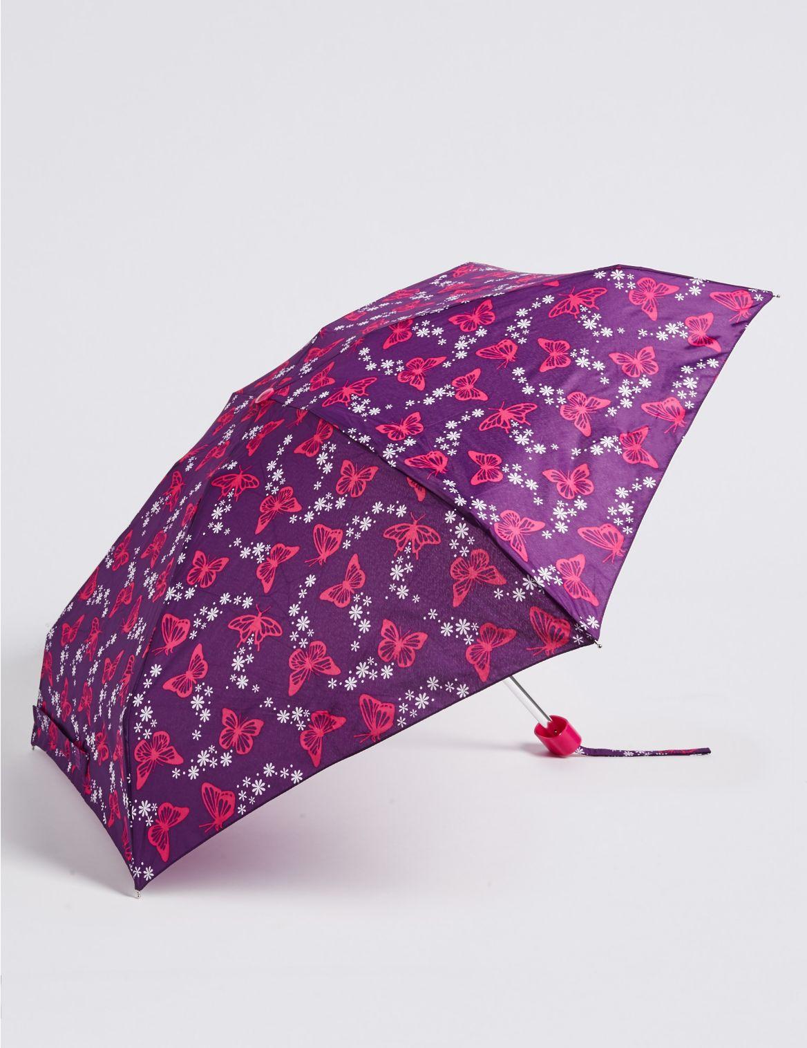 Parapluie compact à imprimé papillons, doté de la technologie Stormwear™