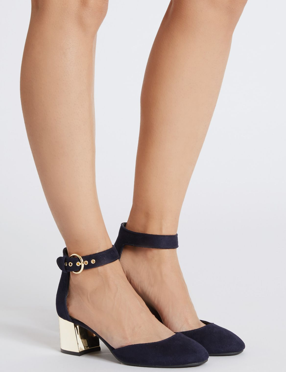 2 Part Block Heel Court Shoes with Insolia® navy