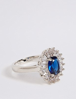 Marks and Spencer Platinum Plated Baguette Regal Ring blue mix 4sTaXcAGA