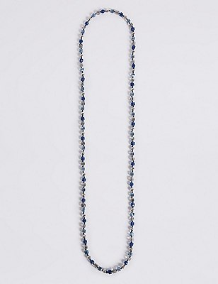 Marks and Spencer Cube & Pearl Effect Long Rope Necklace navy mix