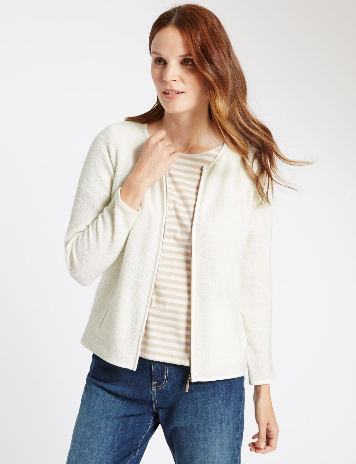 2 Pocket Zipped Cardigan cream