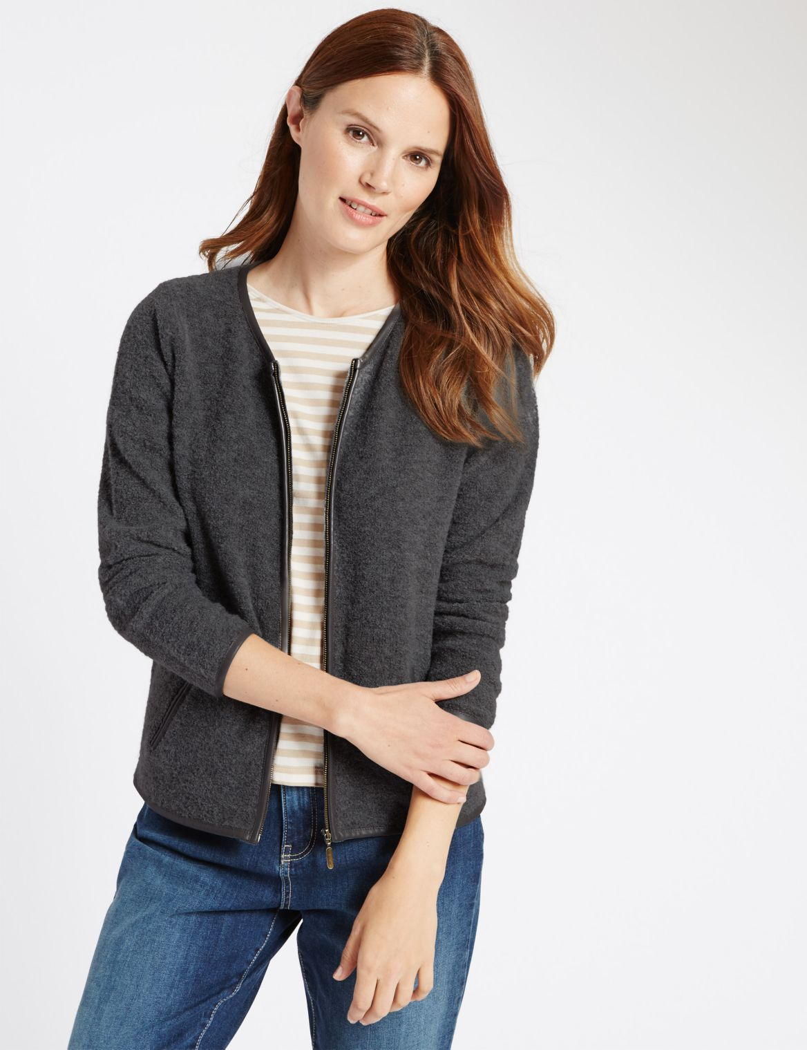 2 Pocket Zipped Cardigan grey