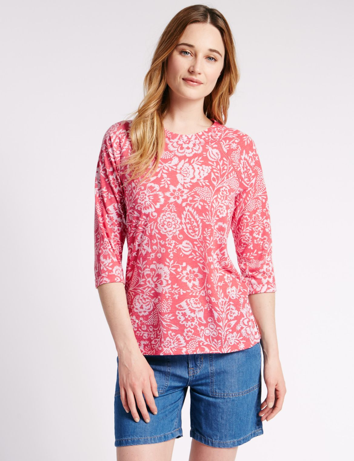 Loose Fit Floral T-Shirt with Linen coral mix