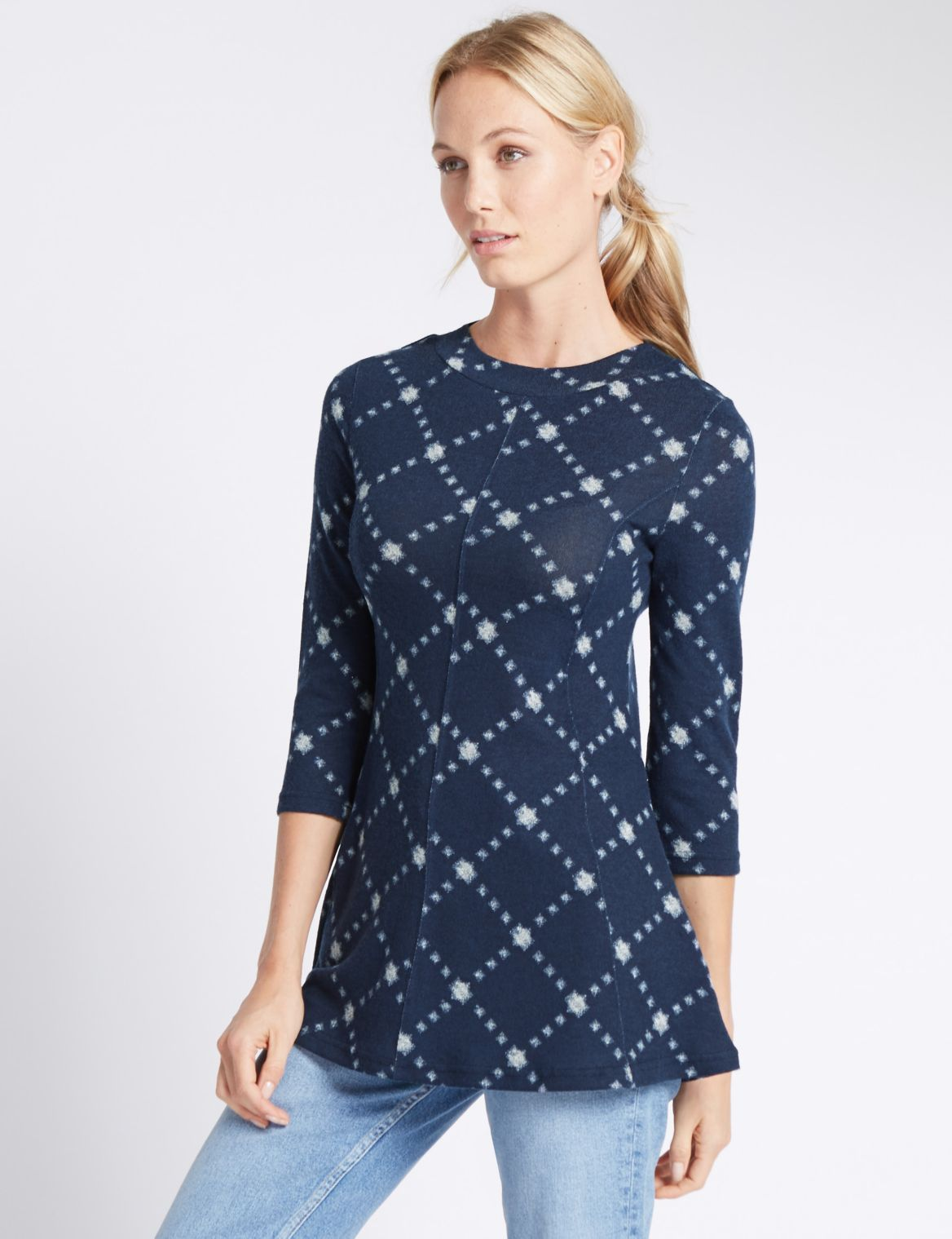 3/4 Sleeve Crew Neck Swing Tunic navy mix