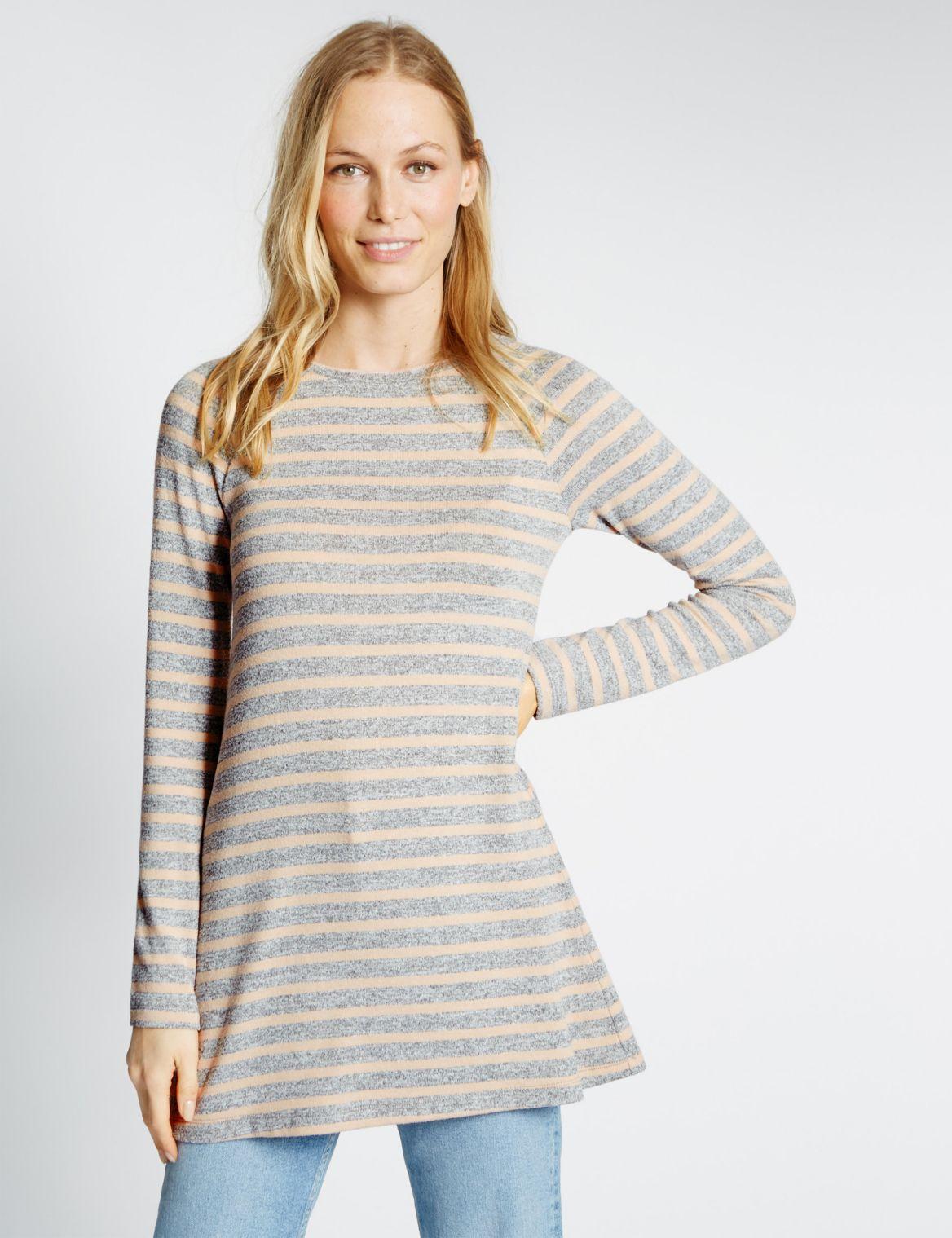 Striped Long Sleeve Tunic grey mix