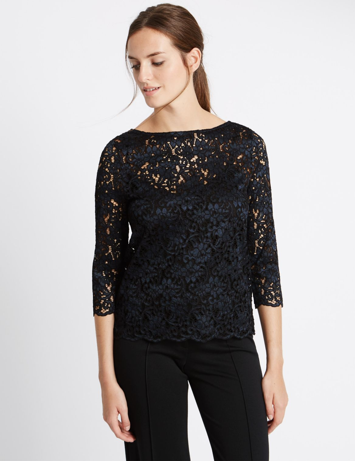 3/4 Sleeve Slash Neck Lace Jersey Top navy