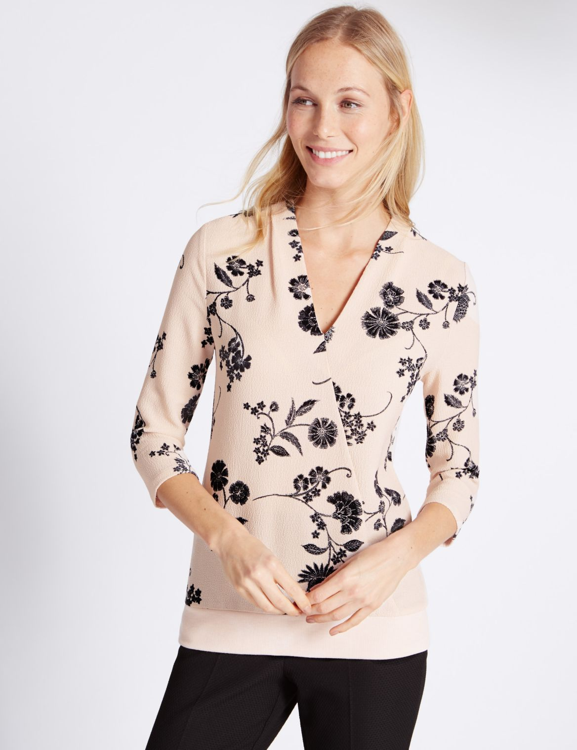 3/4 Sleeve Floral Print Jersey Top light pink mix