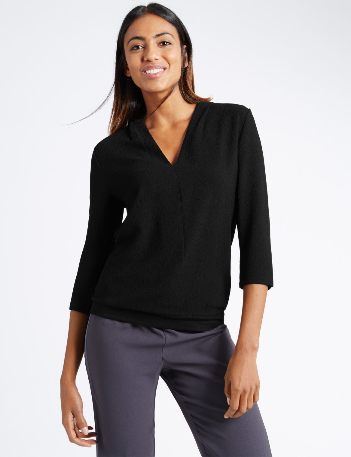 3/4 Sleeve Ribbed Hem V-Neck Jersey Top black