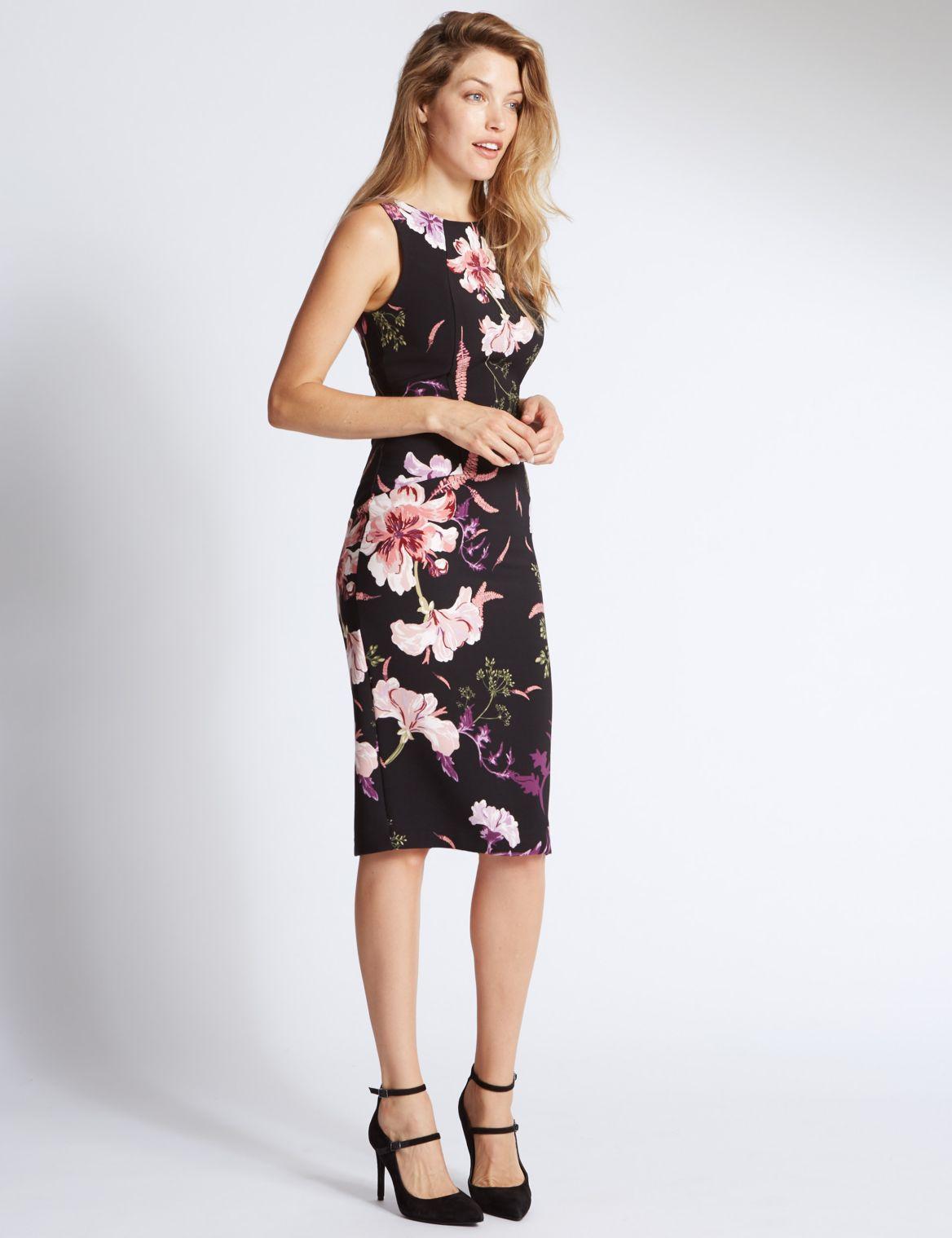 Floral Print Sleeveless Bodycon Dress multi