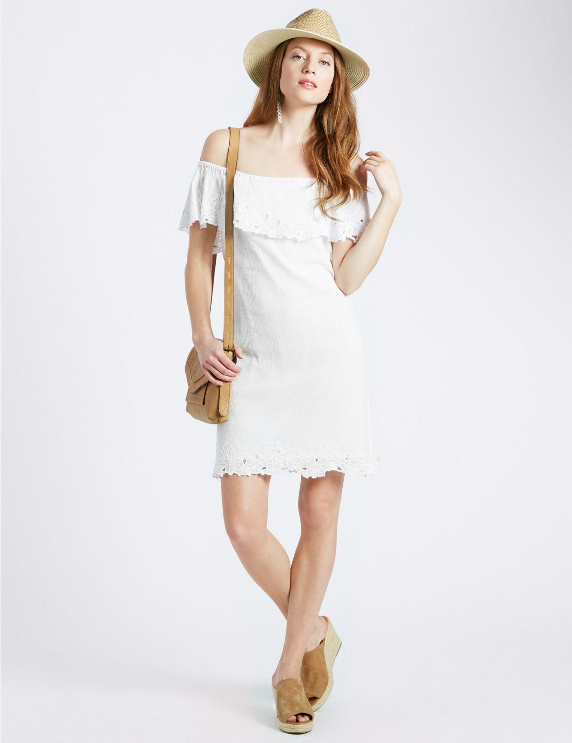 Rechte jurk van puur katoen met