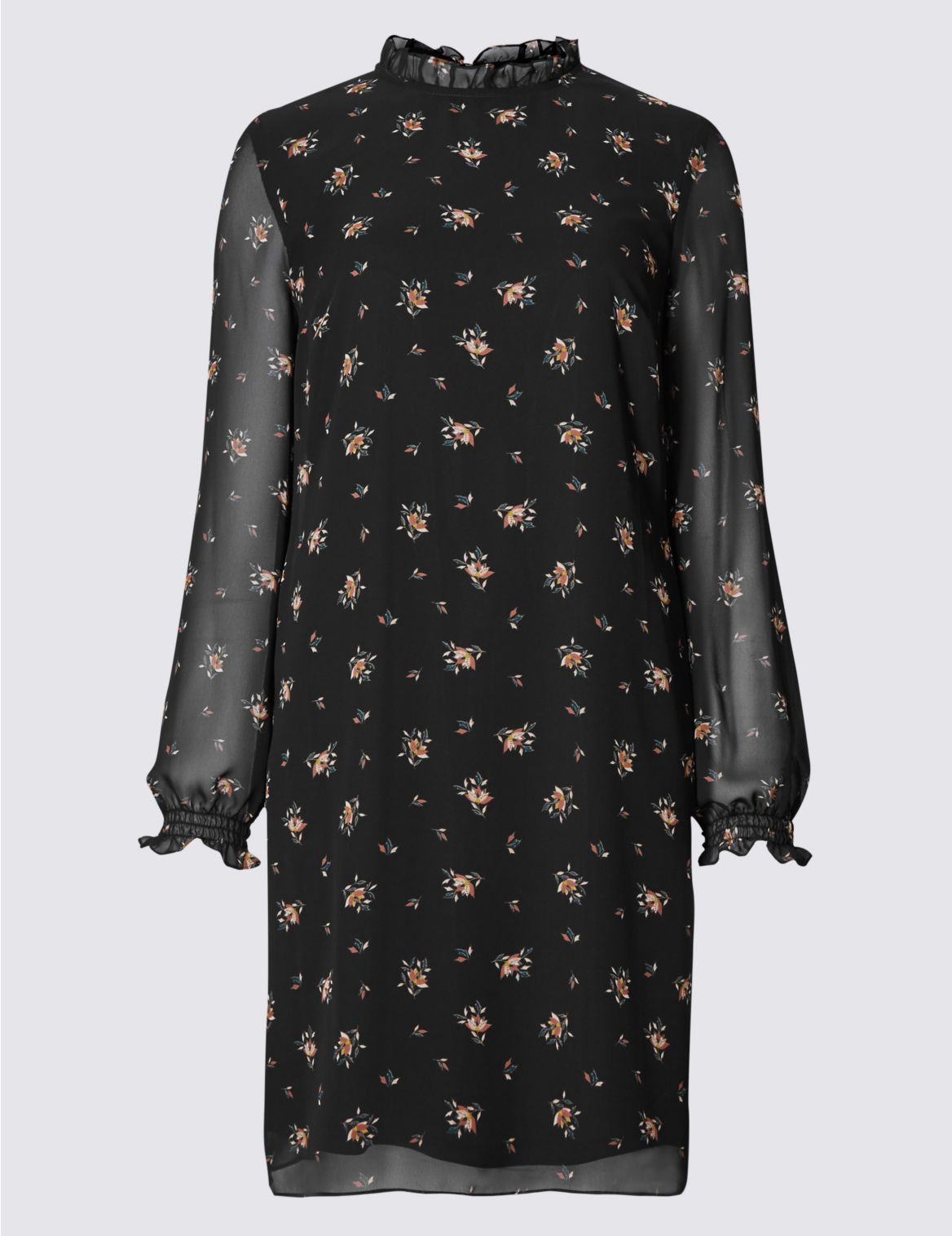 Rechte jurk met lange mouwen en