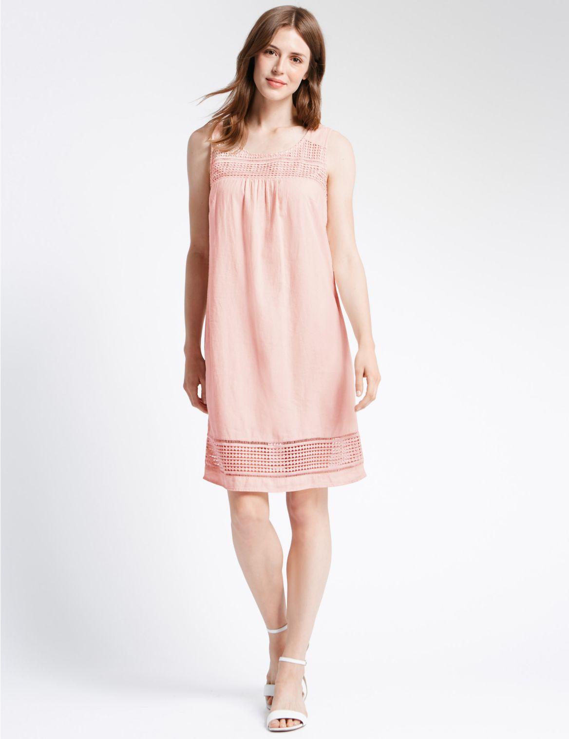 Rechte jurk van linnenmix met