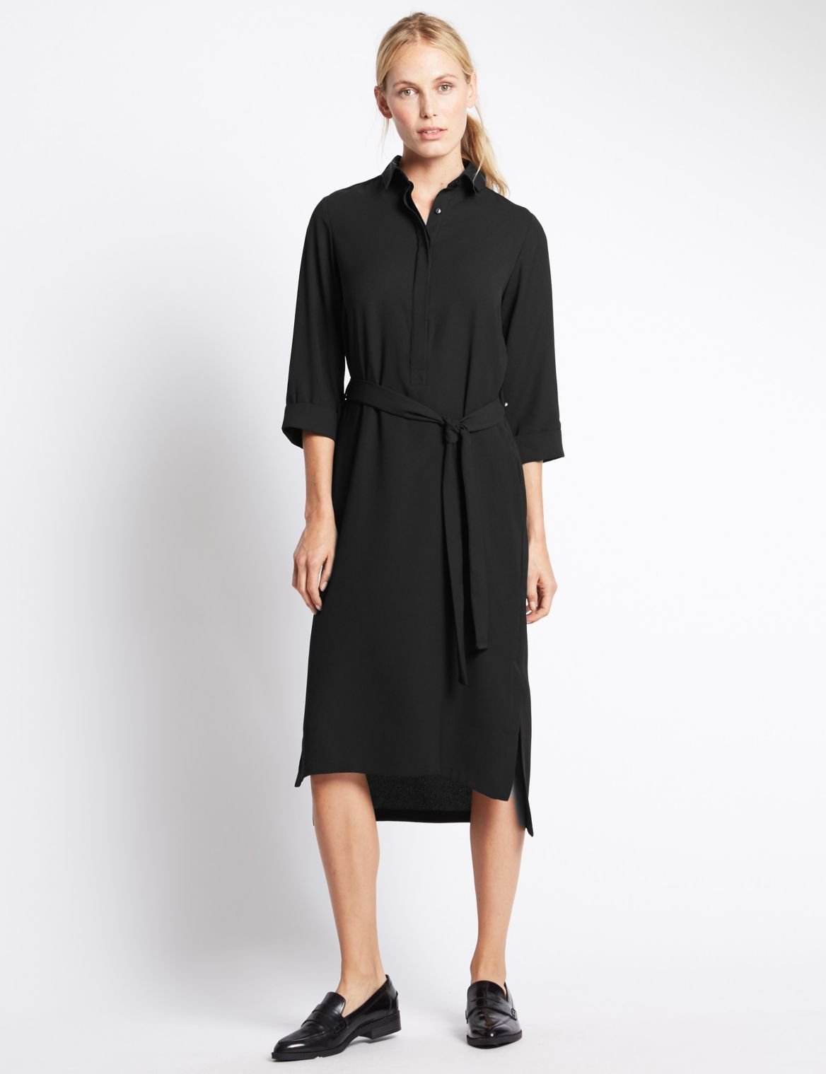 3/4 Sleeve Shirt Dress with Belt black