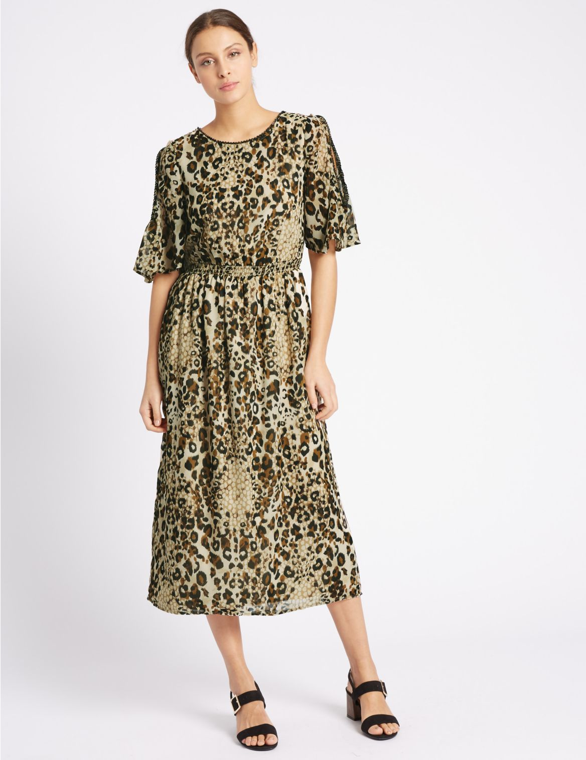 Rechte jurk met dierenprint