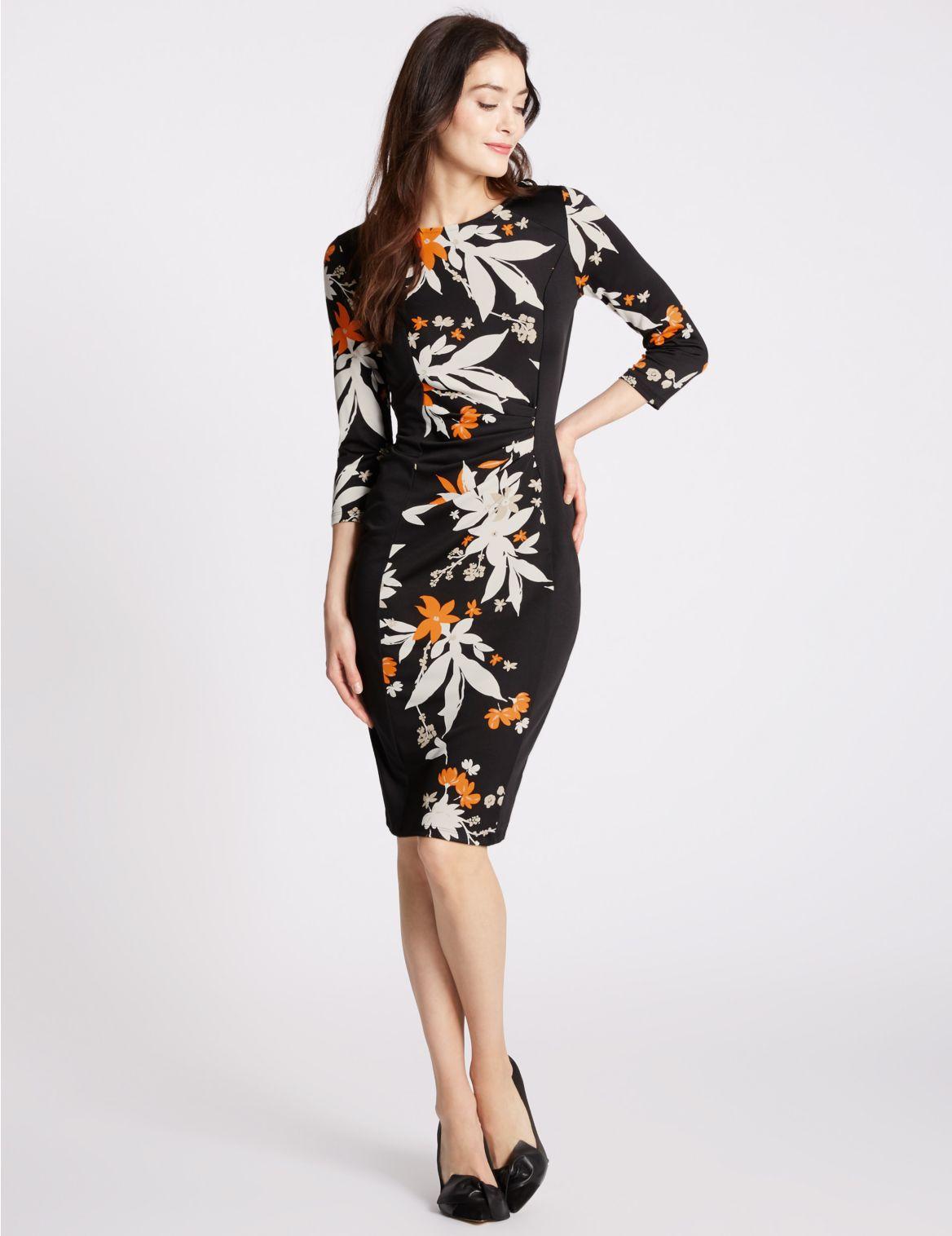 Rechte jurk met bloemmotief