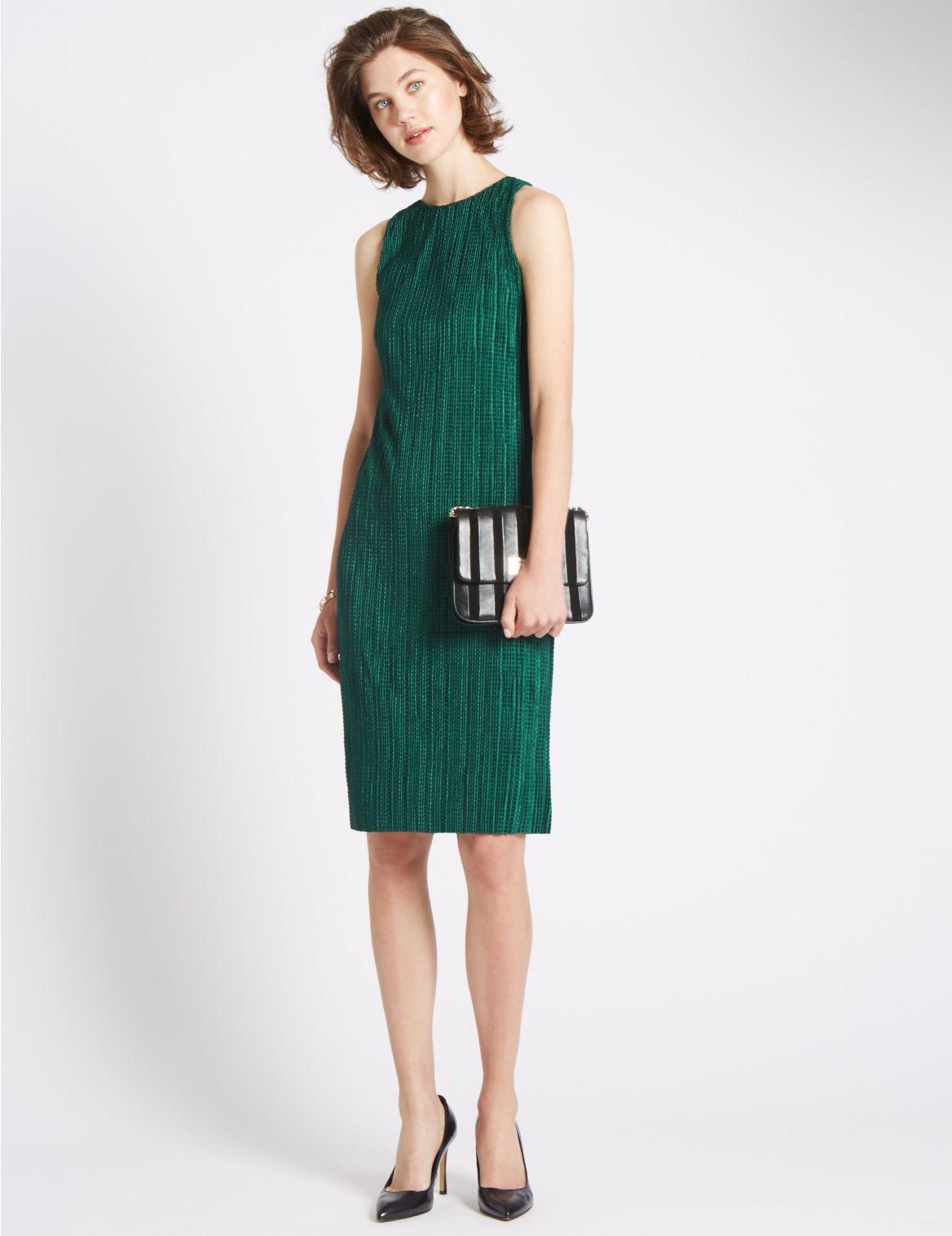 Rechte jurk met plissé