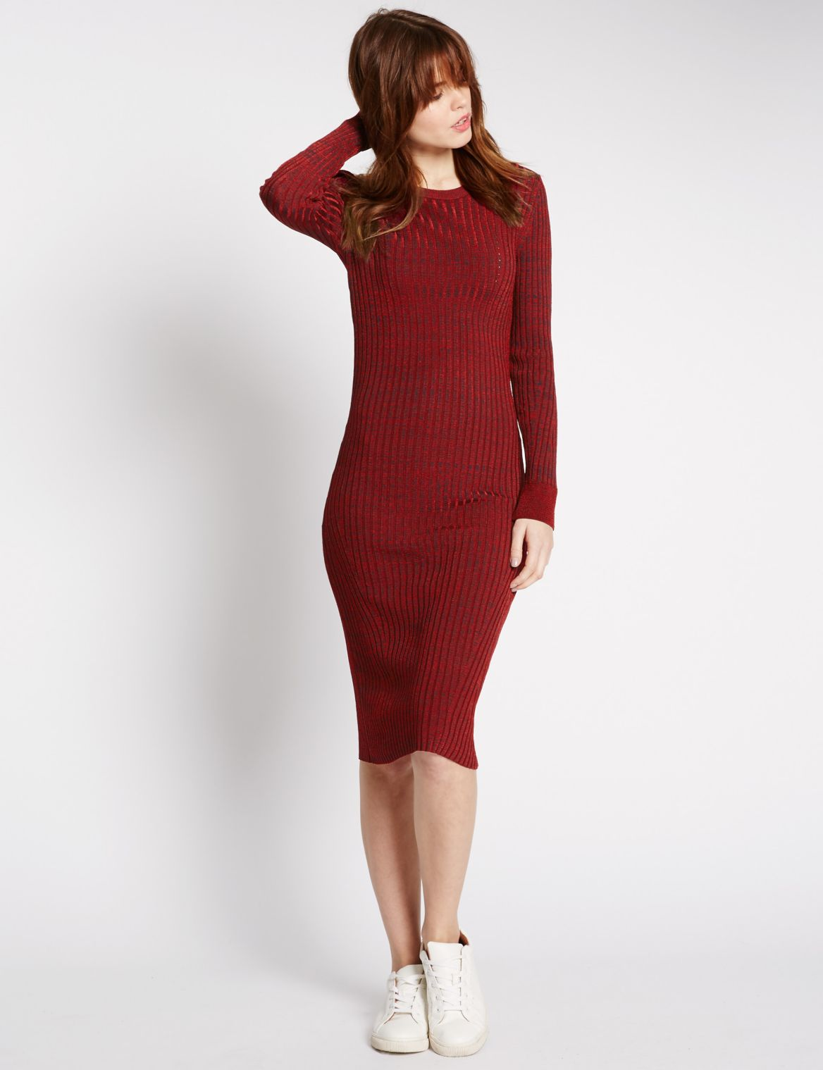 Ribbed Knit Bodycon Dress red mix