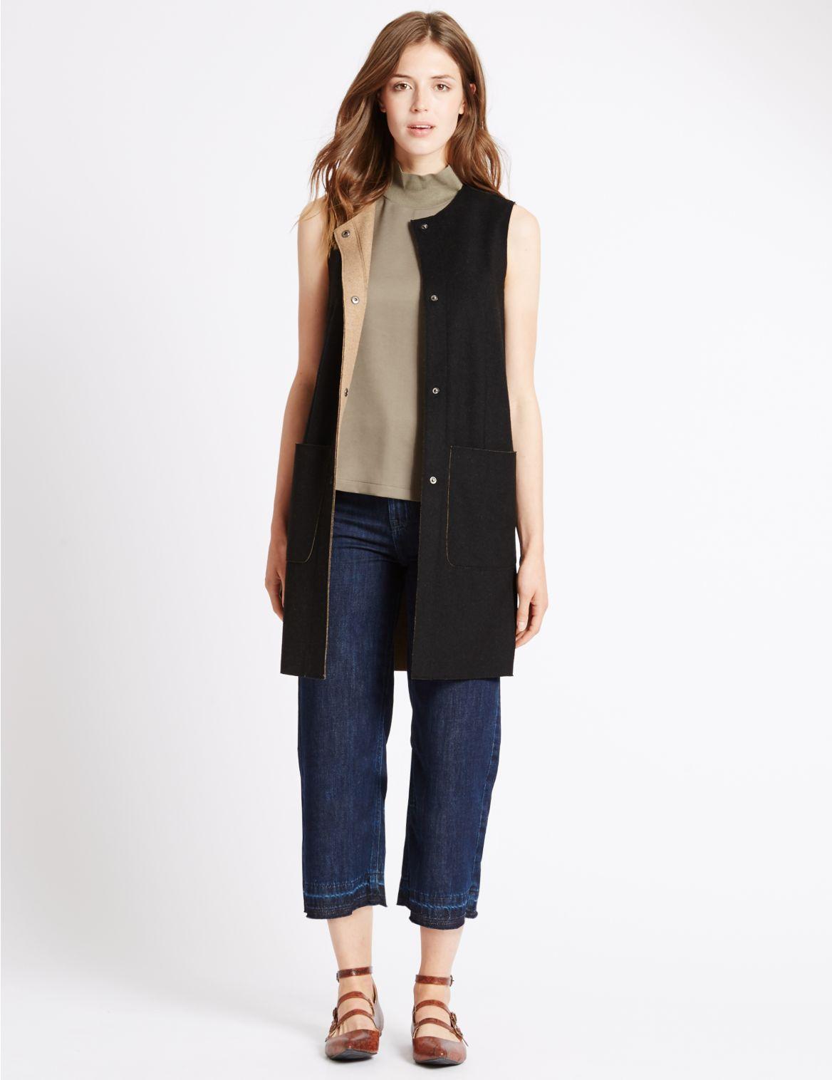 Dubbelzijdig draagbare jas zonder