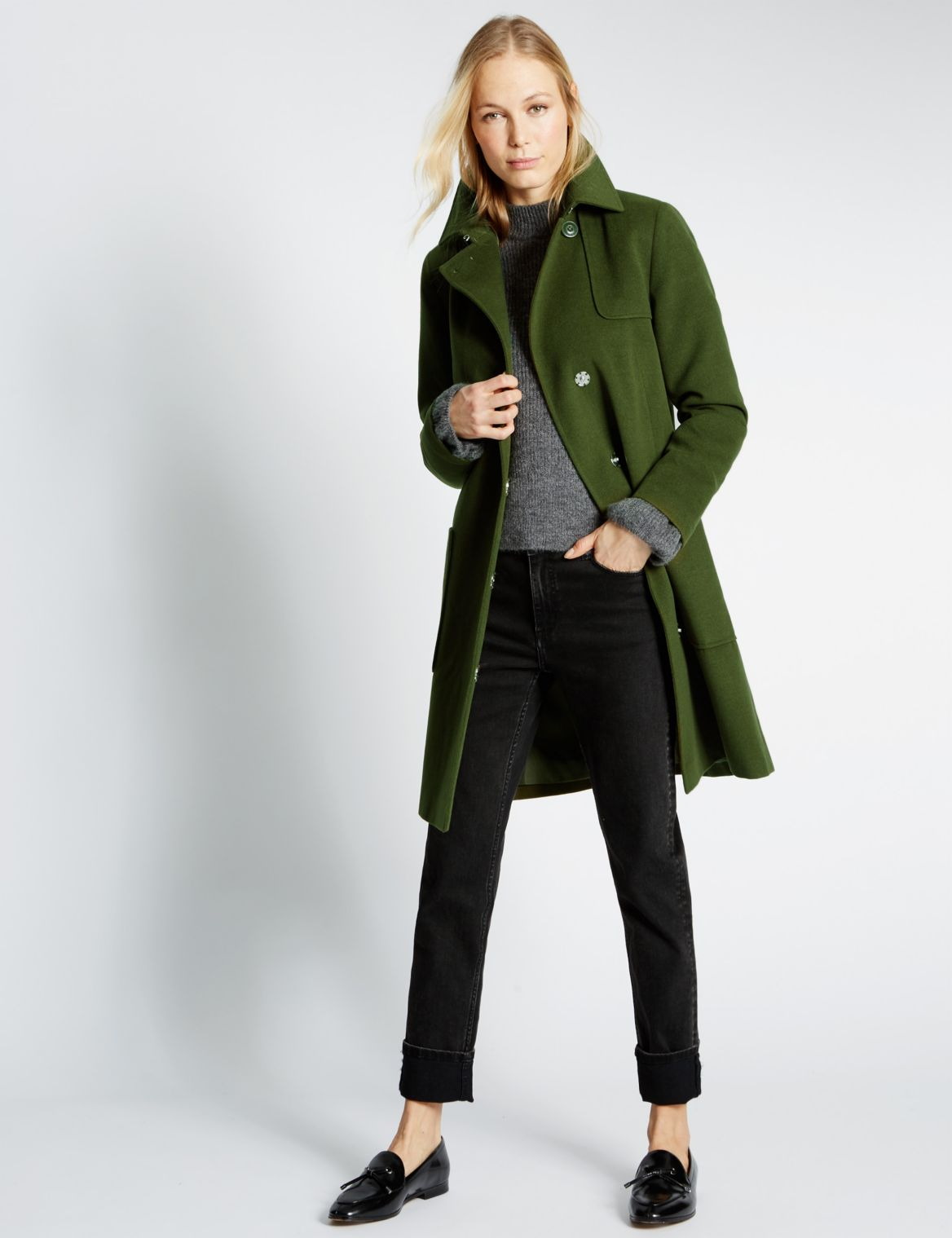 2 Pocket Trench Coat forest green