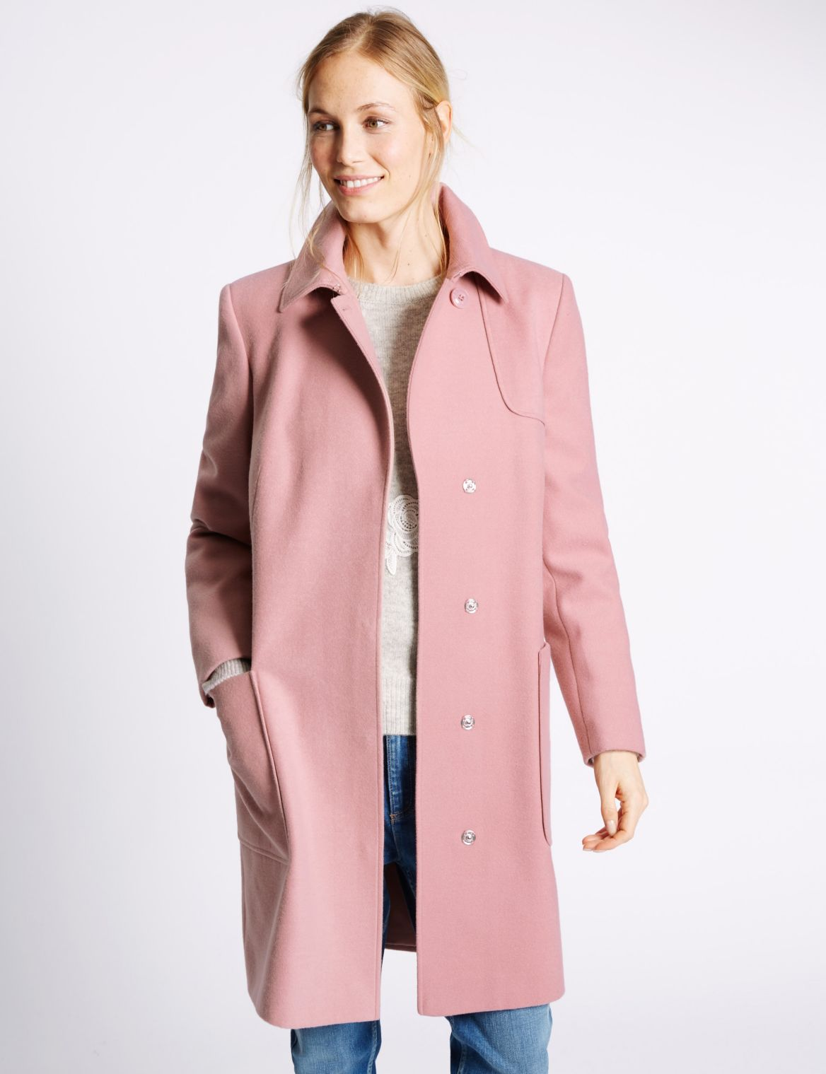 2 Pocket Trench Coat dusky pink