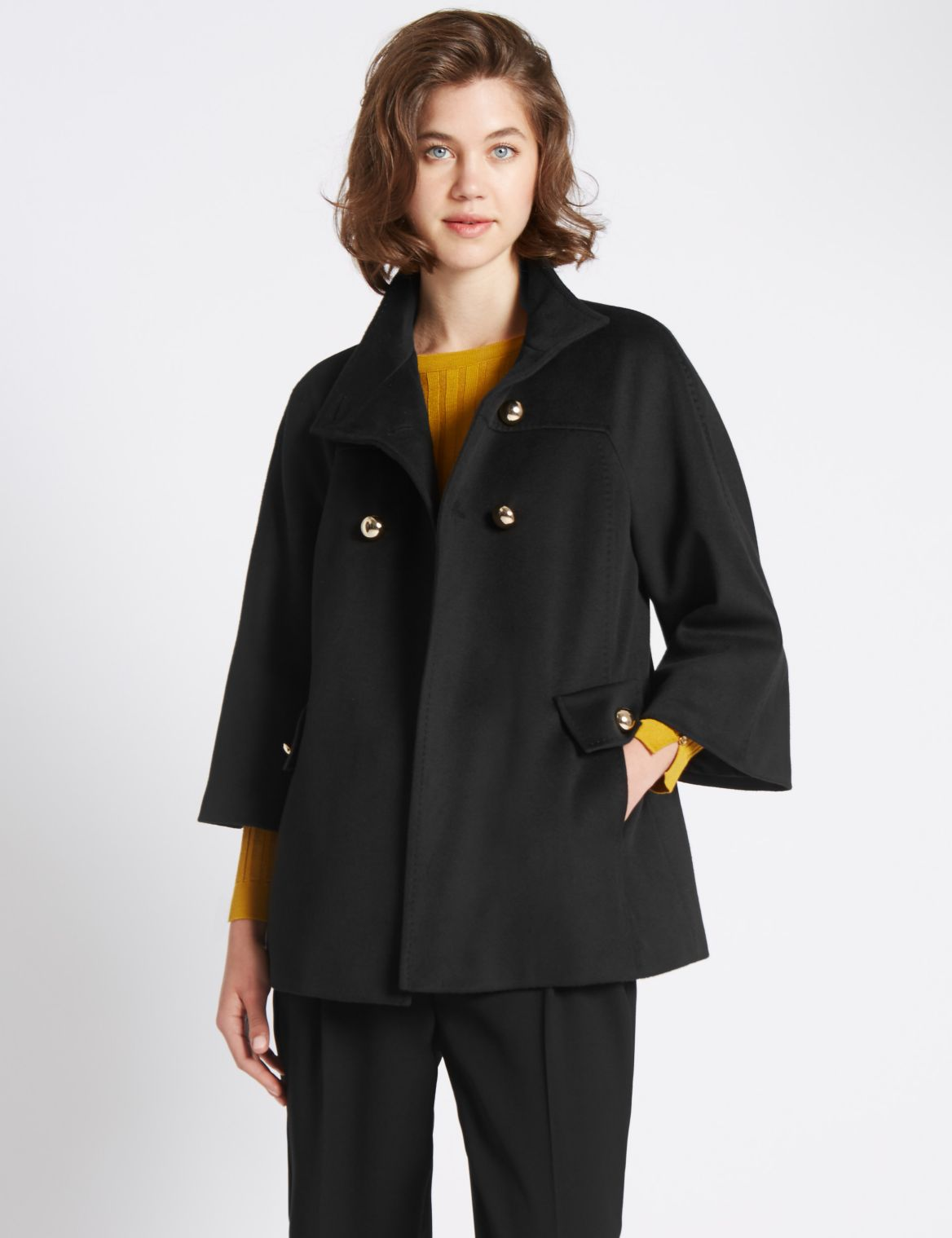3/4 Sleeve Button Detail Coat black