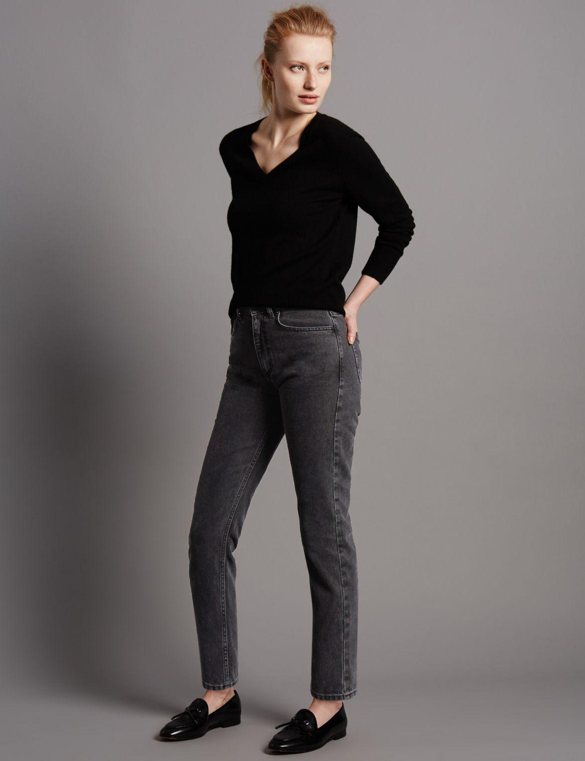 High Waisted Slim Leg Jeans charcoal