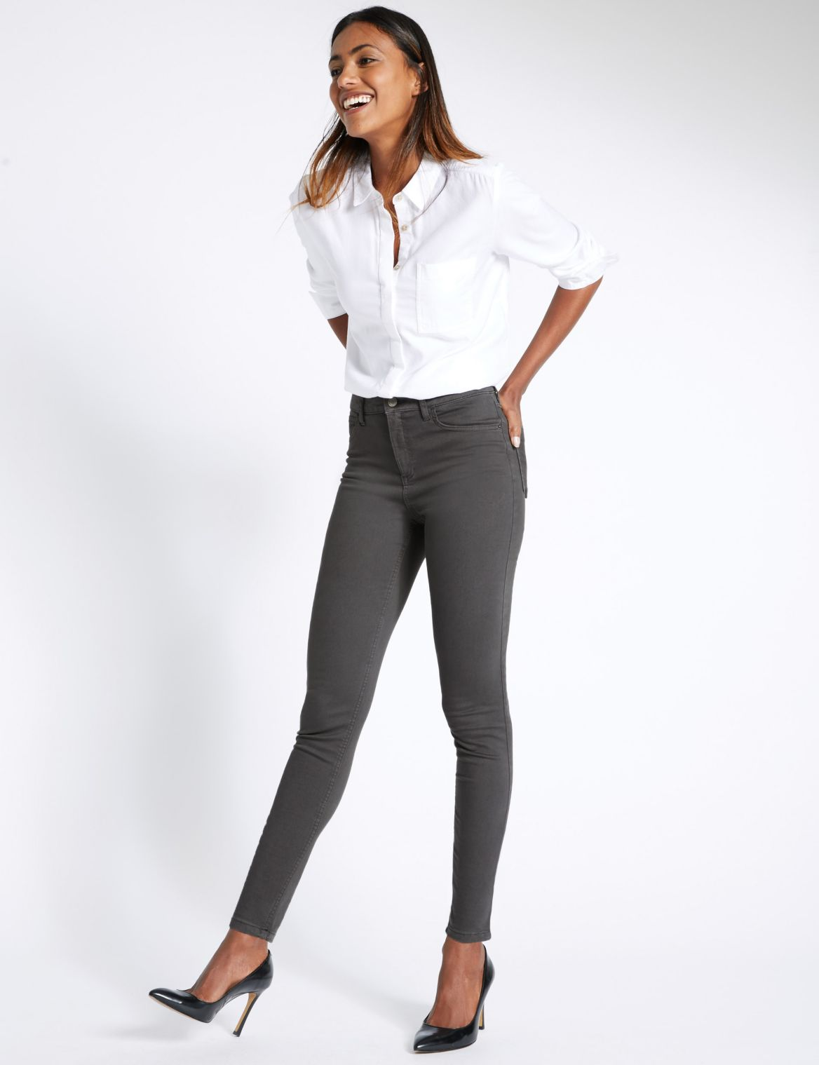 5 Pocket Super Skinny Jeggings gunmetal