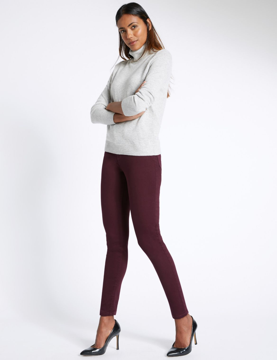 5 Pocket Super Skinny Jeggings burgundy