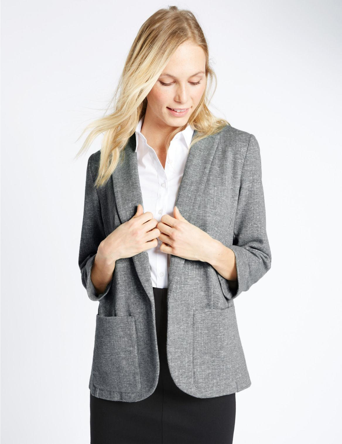 Jersey blazer met 2 zakken