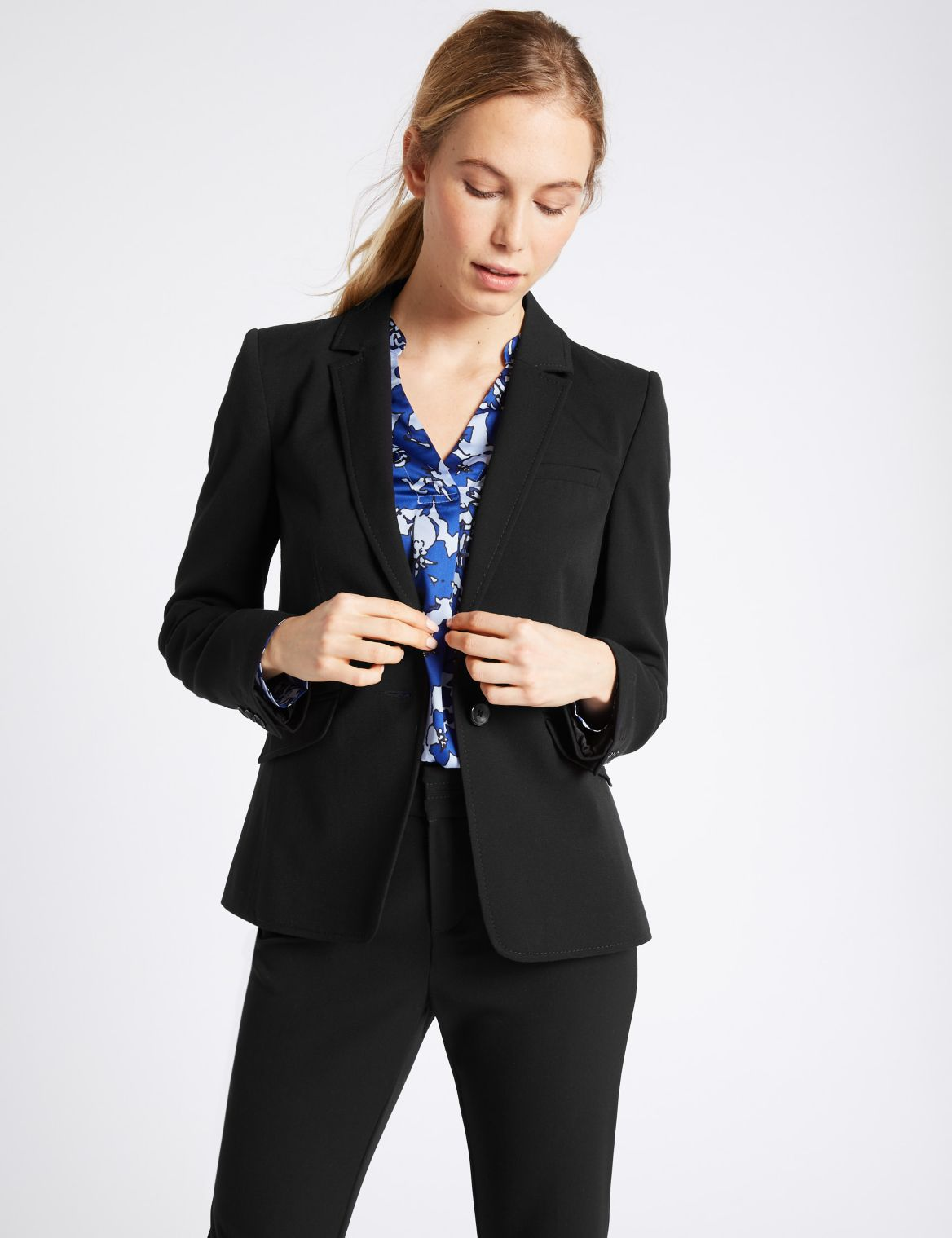 1 Button Longline Blazer black