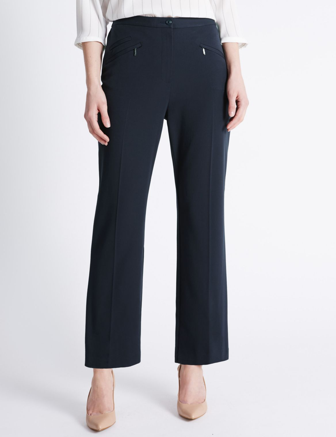3 Pocket Straight Leg Trousers navy