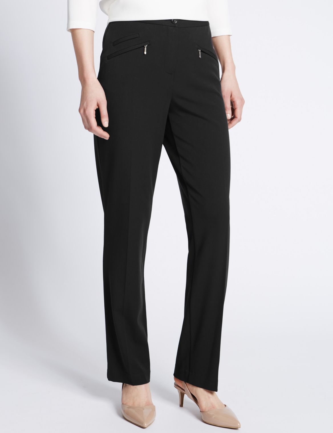 3 Pocket Straight Leg Trousers black