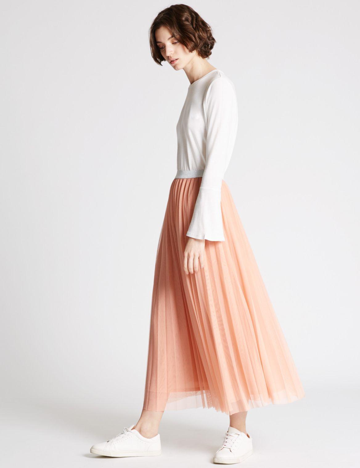 A-Line Mesh Skirt blush