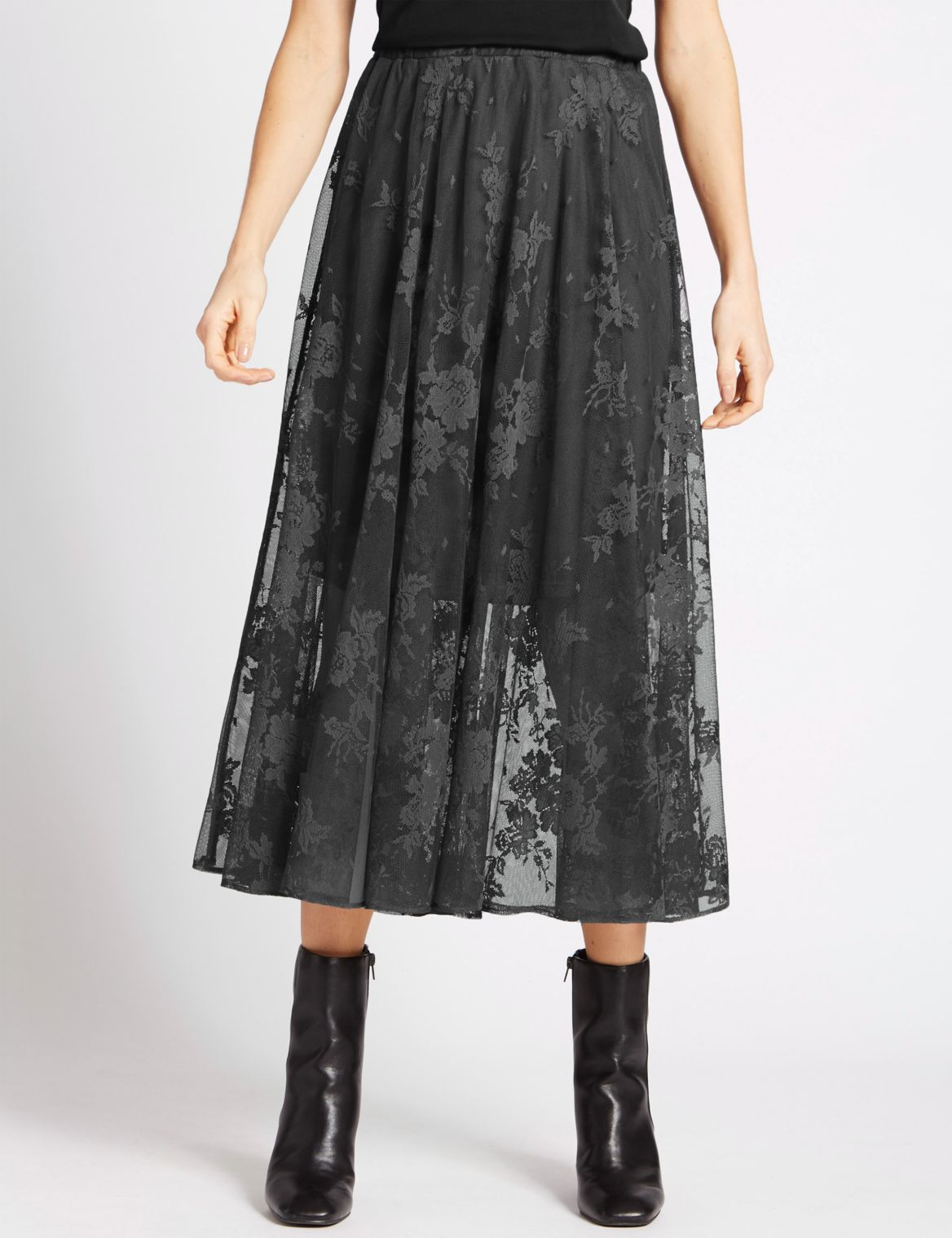 A-Line Lace Ballet Midi Skirt granite