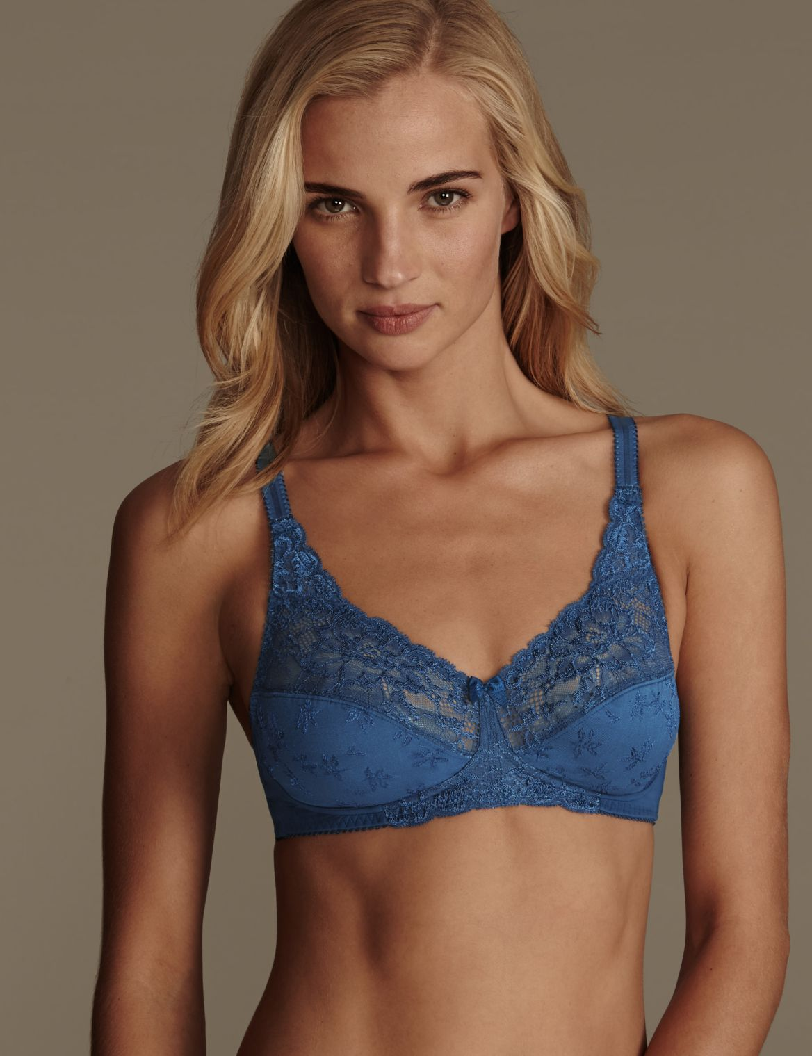 Floral Jacquard Lace Non-Wired Full Cup Bra A-DD dark petrol
