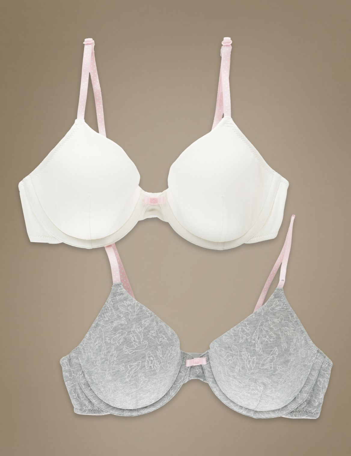 2 Pack Cotton Rich Underwired Marl Birds Full Cup Bras grey mix