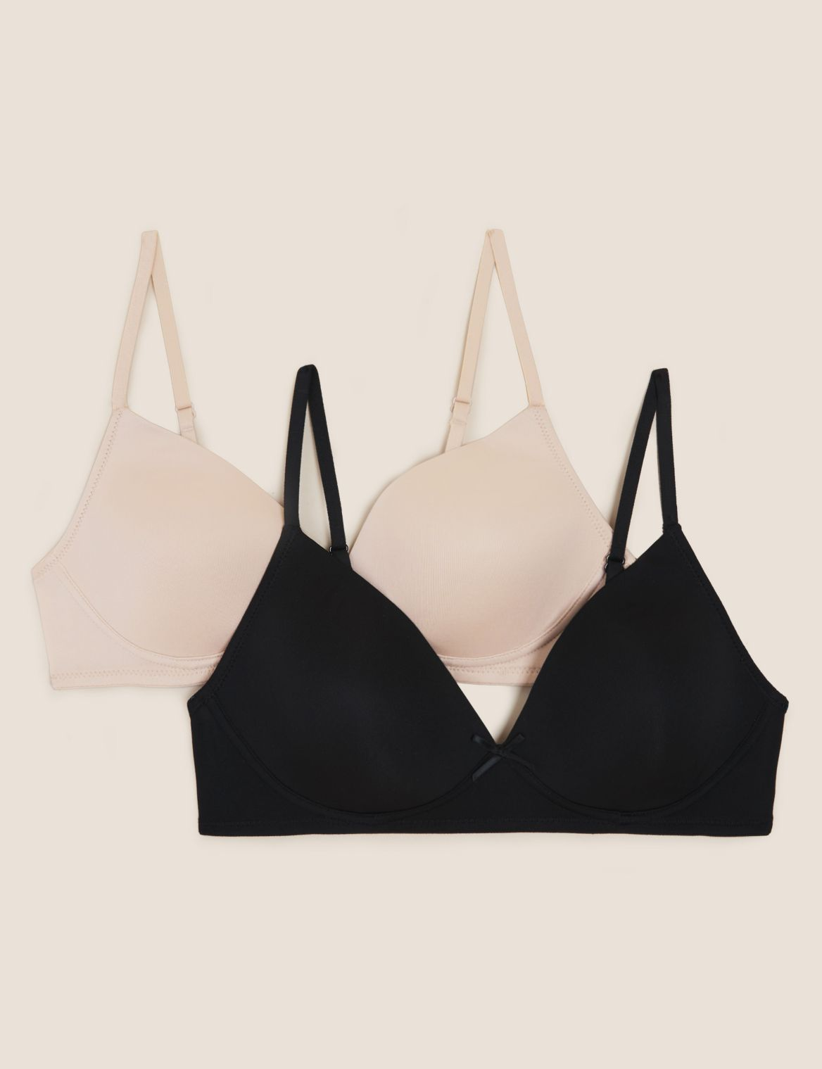 2 Pack Moulded Non-Wired First Bras black/beige