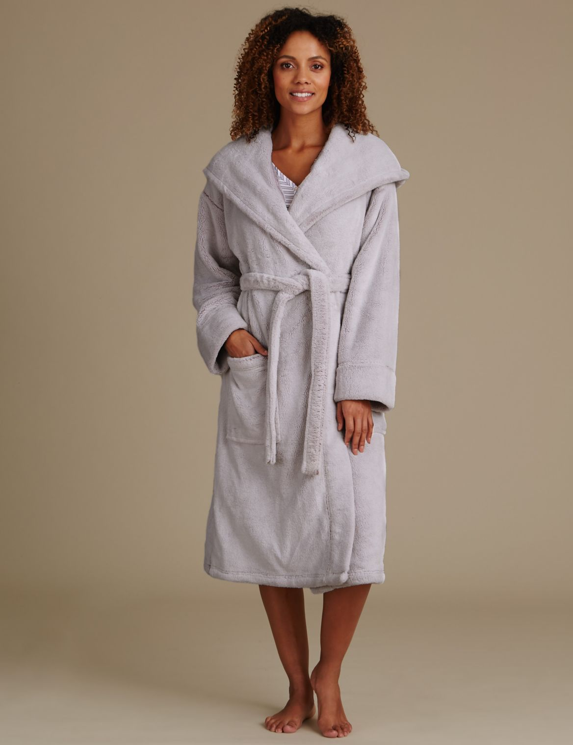 Long Sleeve Hooded Dressing Gown pink mix