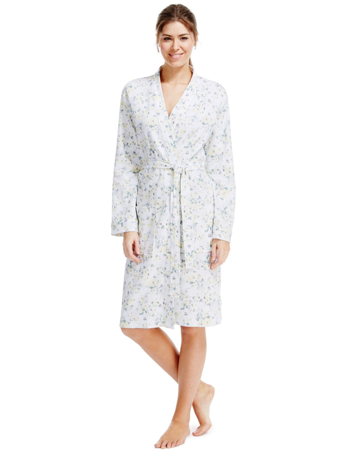 Pure Cotton Floral Waffle Dressing Gown Lemon Mix – Taboo