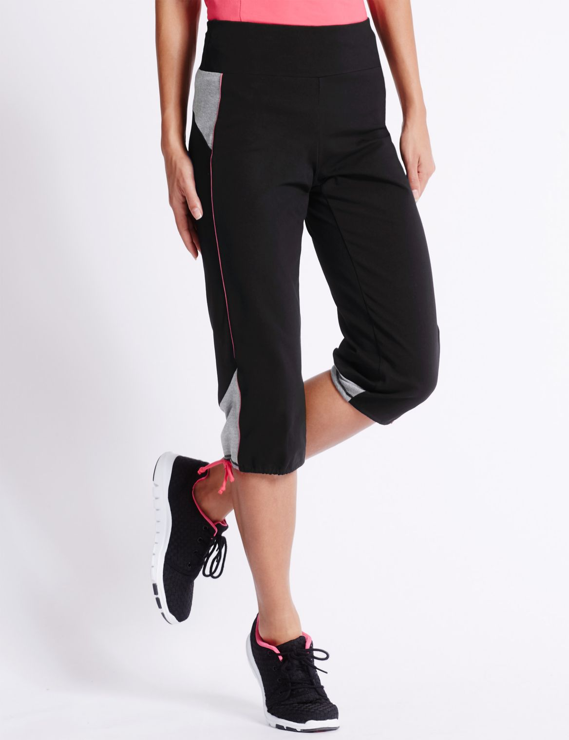 Active Cotton Cropped Joggers black mix